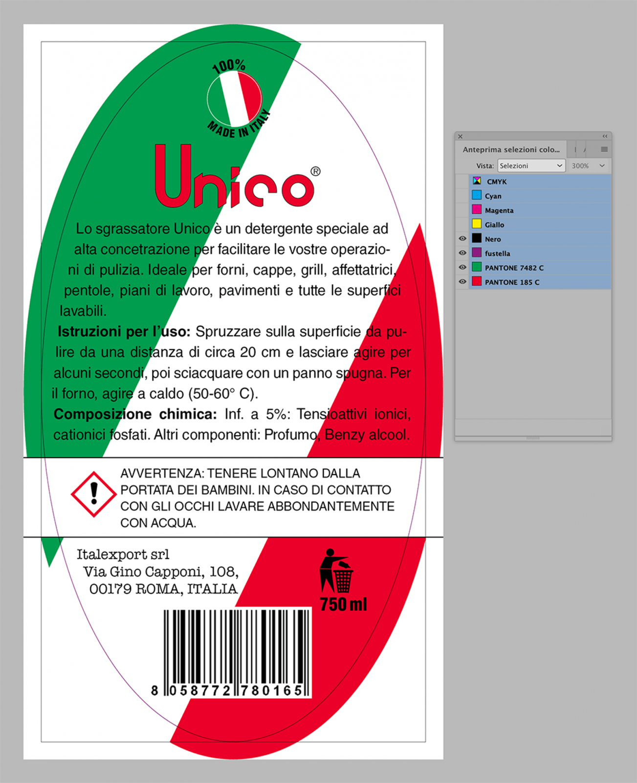 Retro etichetta a 3 colori con fustella